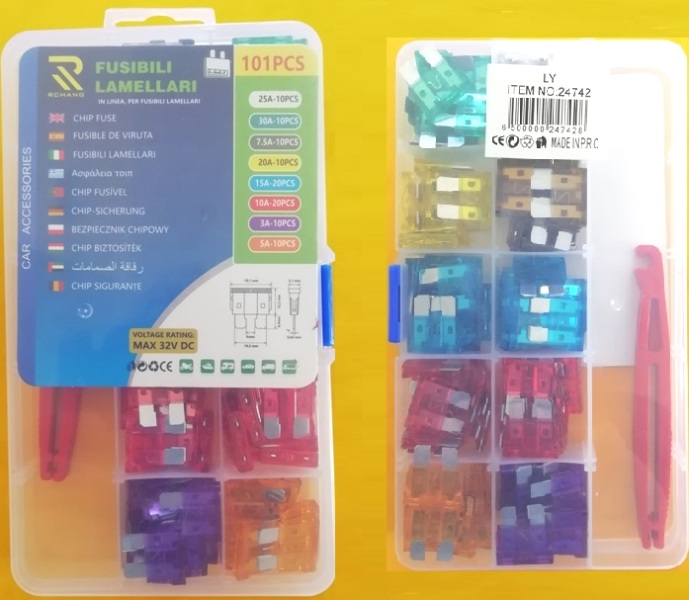 Car chip fuses with tongs 101pcs 24742 RCHANG